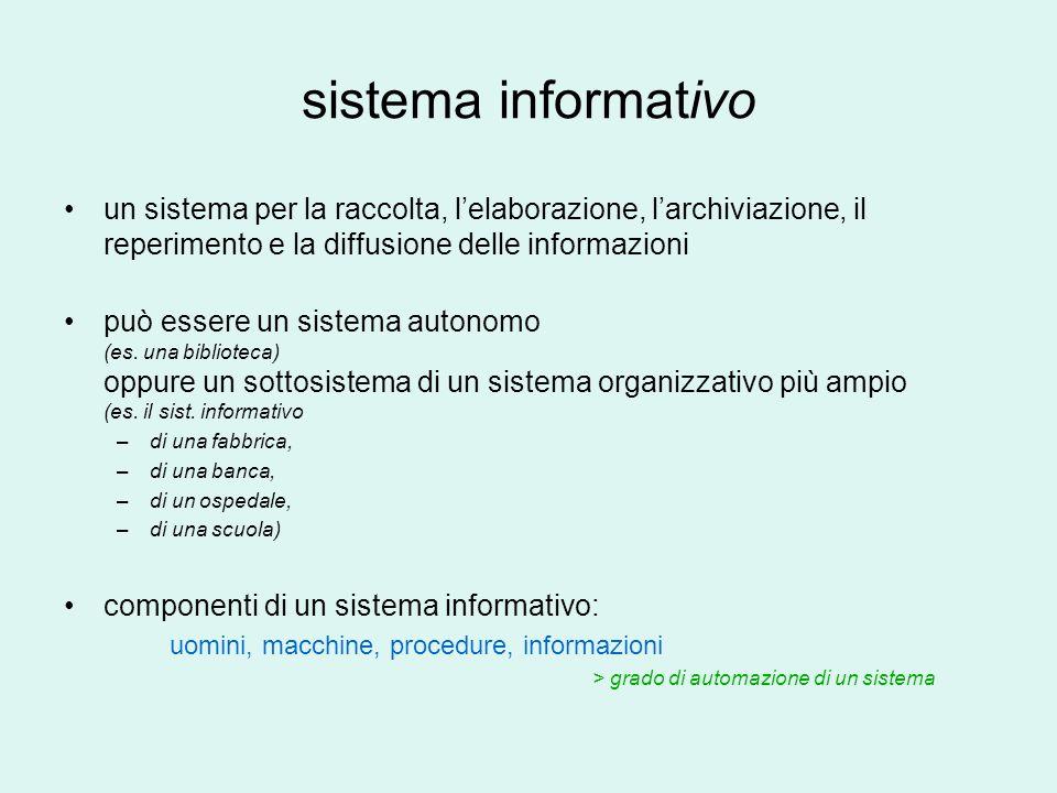 sistema informativo un sistema per la raccolta, lelaborazione, larchiviazione, il reperimento e la diffusione delle informazioni può essere un sistema autonomo (es.