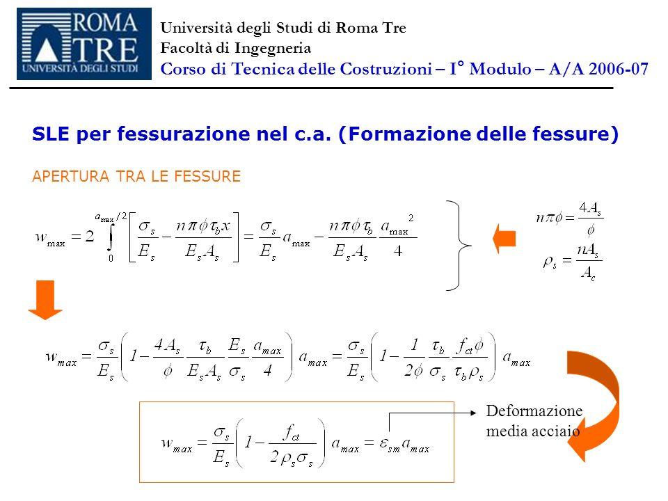 SLE per fessurazione nel c.a. (Formazione delle fessure) APERTURA TRA LE FESSURE Deformazione media acciaio Università degli Studi di Roma Tre Facoltà