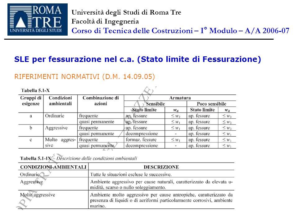 SLE per fessurazione nel c.a. (Stato limite di Fessurazione) RIFERIMENTI NORMATIVI (D.M. 14.09.05) Università degli Studi di Roma Tre Facoltà di Ingeg