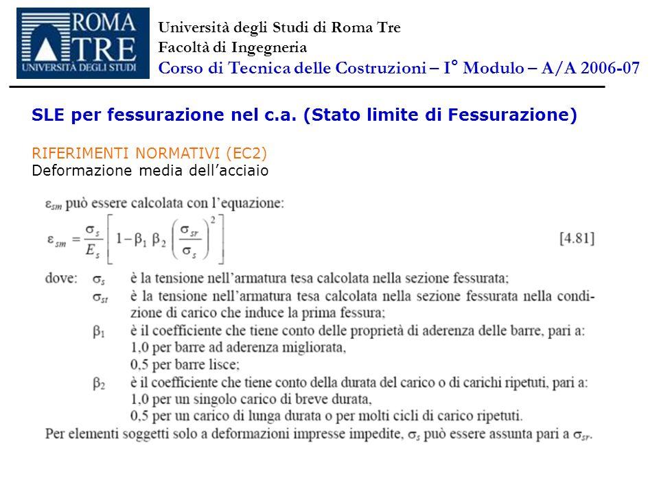SLE per fessurazione nel c.a. (Stato limite di Fessurazione) RIFERIMENTI NORMATIVI (EC2) Deformazione media dellacciaio Università degli Studi di Roma