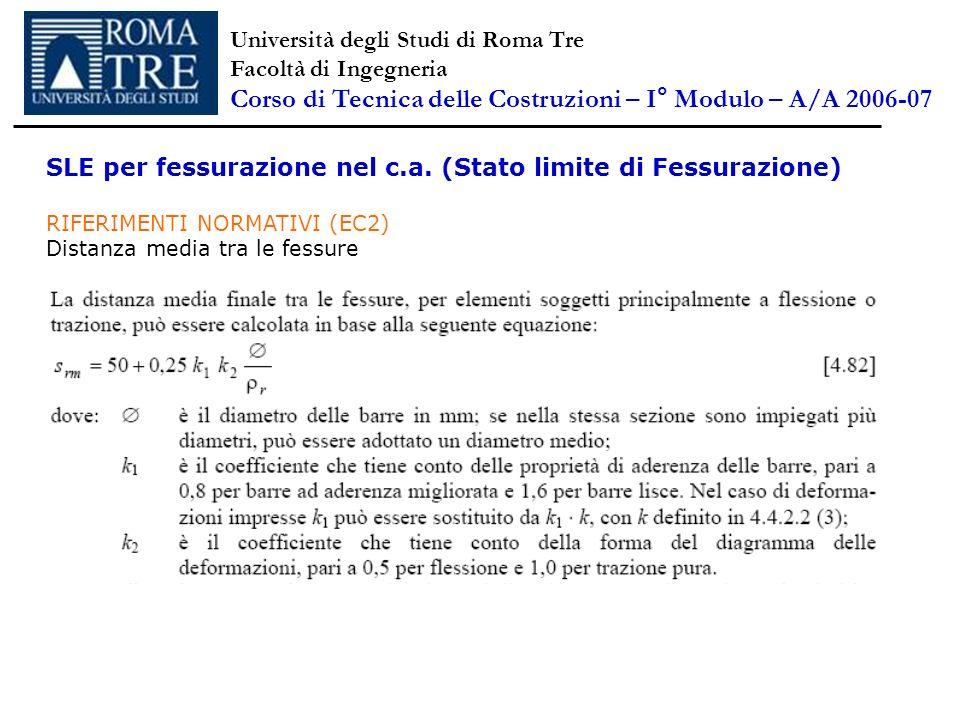 SLE per fessurazione nel c.a. (Stato limite di Fessurazione) RIFERIMENTI NORMATIVI (EC2) Distanza media tra le fessure Università degli Studi di Roma