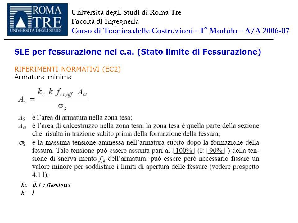 SLE per fessurazione nel c.a. (Stato limite di Fessurazione) RIFERIMENTI NORMATIVI (EC2) Armatura minima Università degli Studi di Roma Tre Facoltà di