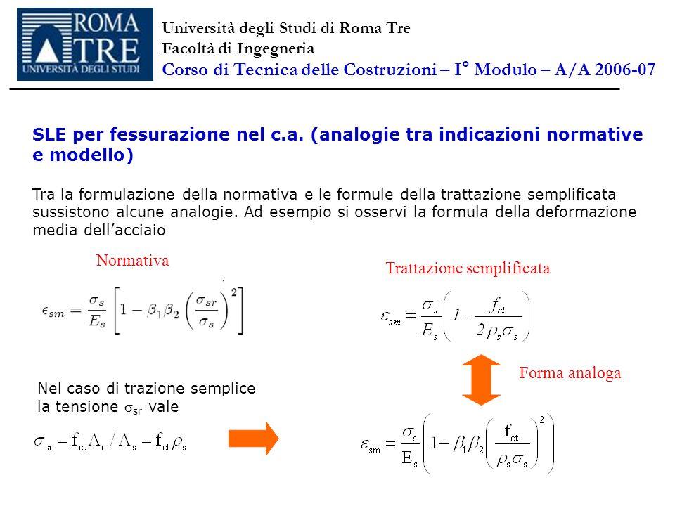 SLE per fessurazione nel c.a. (analogie tra indicazioni normative e modello) Tra la formulazione della normativa e le formule della trattazione sempli