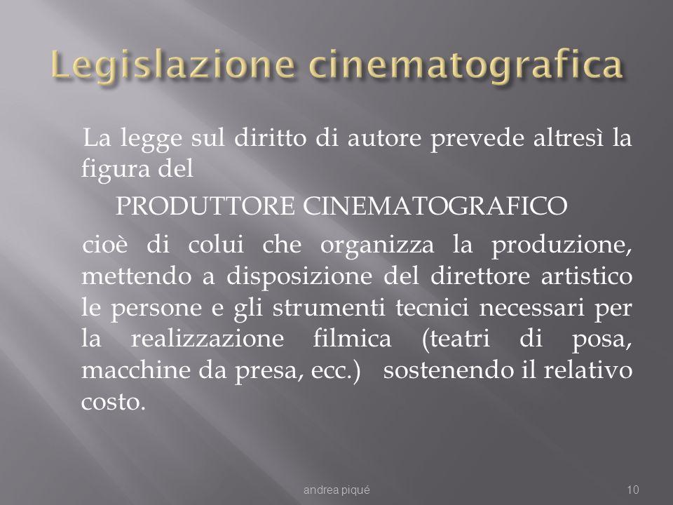 La legge sul diritto di autore prevede altresì la figura del PRODUTTORE CINEMATOGRAFICO cioè di colui che organizza la produzione, mettendo a disposiz