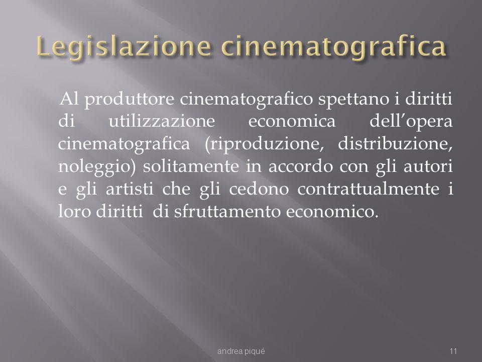 Al produttore cinematografico spettano i diritti di utilizzazione economica dellopera cinematografica (riproduzione, distribuzione, noleggio) solitame