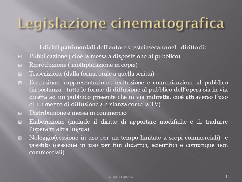 I diritti patrimoniali dellautore si estrinsecano nel diritto di: Pubblicazione ( cioè la messa a disposizione al pubblico) Riproduzione ( moltiplicaz