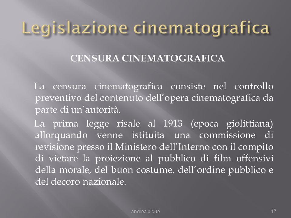 CENSURA CINEMATOGRAFICA La censura cinematografica consiste nel controllo preventivo del contenuto dellopera cinematografica da parte di unautorità. L