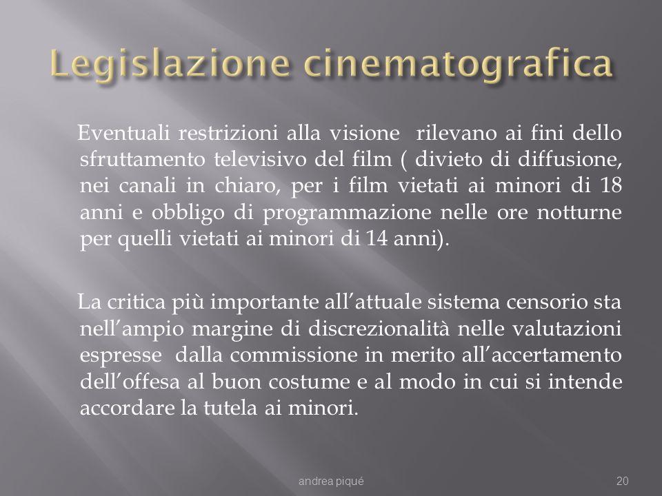 Eventuali restrizioni alla visione rilevano ai fini dello sfruttamento televisivo del film ( divieto di diffusione, nei canali in chiaro, per i film v