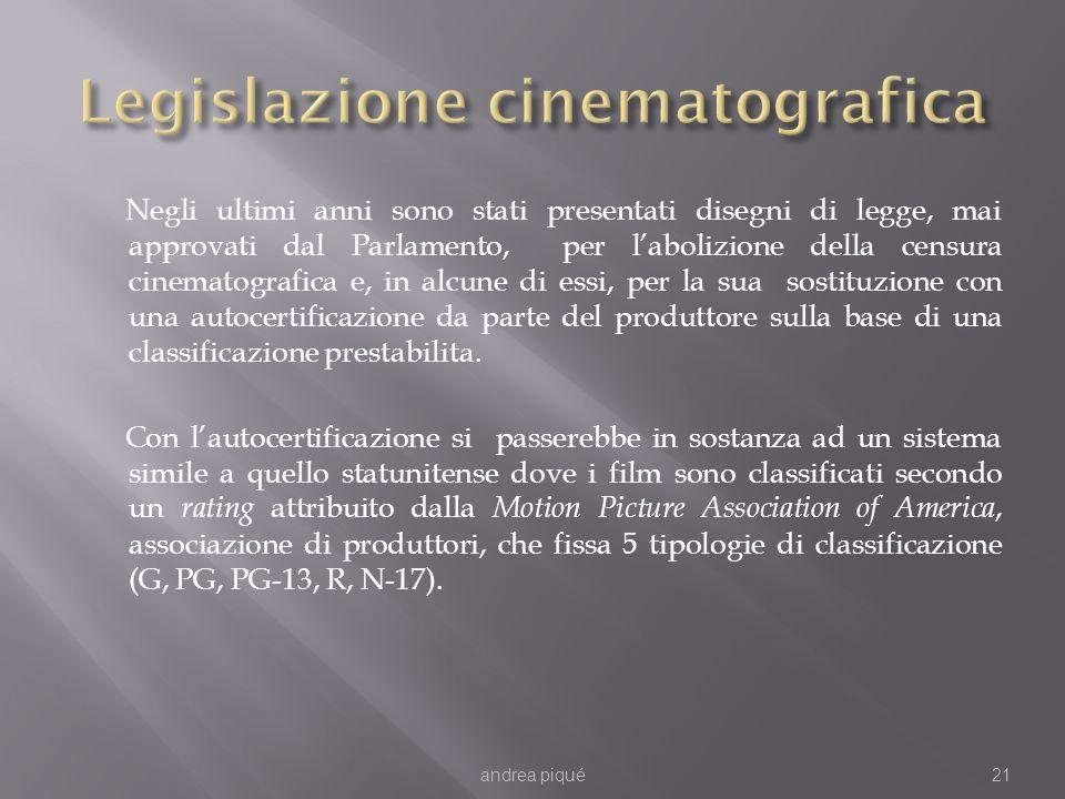 Negli ultimi anni sono stati presentati disegni di legge, mai approvati dal Parlamento, per labolizione della censura cinematografica e, in alcune di