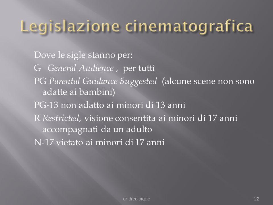 Dove le sigle stanno per: G General Audience, per tutti PG Parental Guidance Suggested (alcune scene non sono adatte ai bambini) PG-13 non adatto ai m