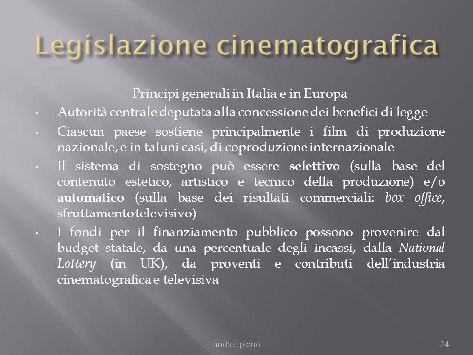 Principi generali in Italia e in Europa Autorità centrale deputata alla concessione dei benefici di legge Ciascun paese sostiene principalmente i film
