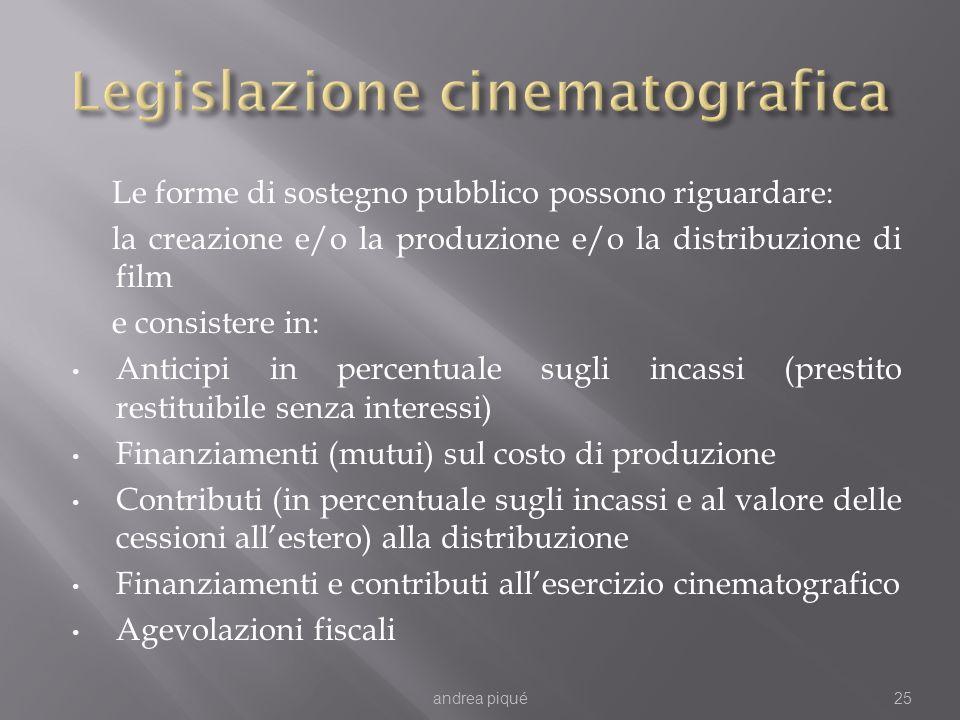 Le forme di sostegno pubblico possono riguardare: la creazione e/o la produzione e/o la distribuzione di film e consistere in: Anticipi in percentuale