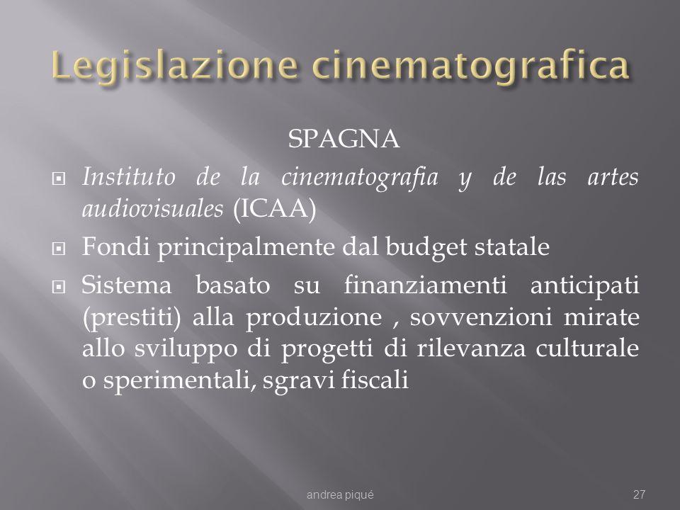 SPAGNA Instituto de la cinematografia y de las artes audiovisuales (ICAA) Fondi principalmente dal budget statale Sistema basato su finanziamenti anti