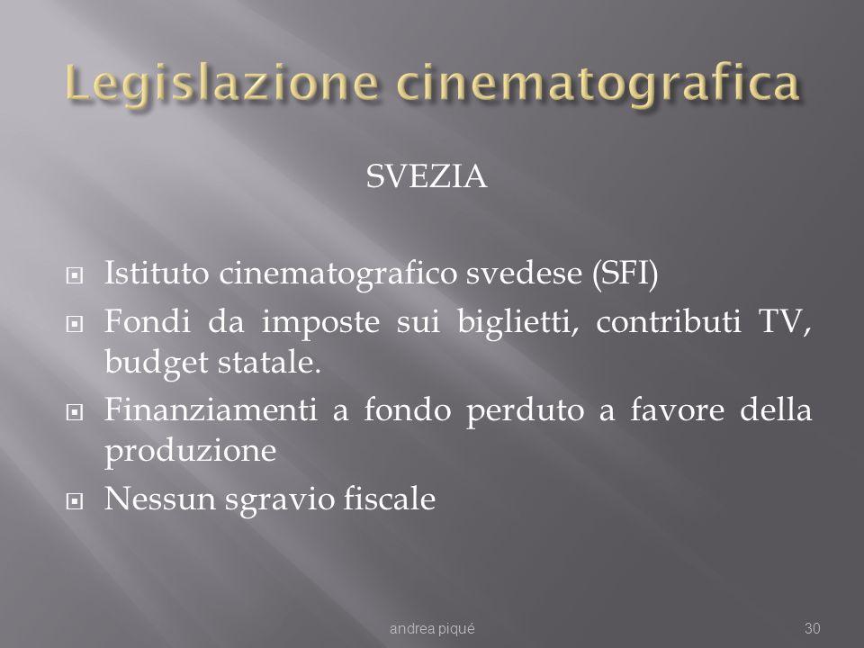 SVEZIA Istituto cinematografico svedese (SFI) Fondi da imposte sui biglietti, contributi TV, budget statale. Finanziamenti a fondo perduto a favore de