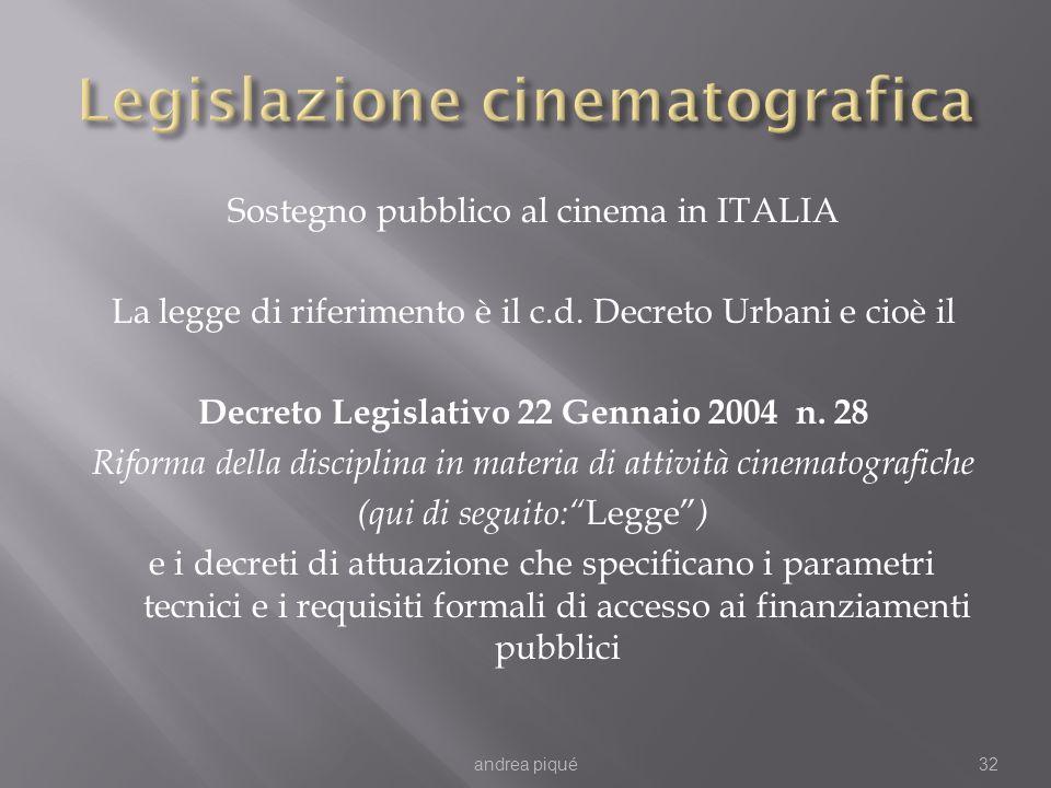 Sostegno pubblico al cinema in ITALIA La legge di riferimento è il c.d. Decreto Urbani e cioè il Decreto Legislativo 22 Gennaio 2004 n. 28 Riforma del
