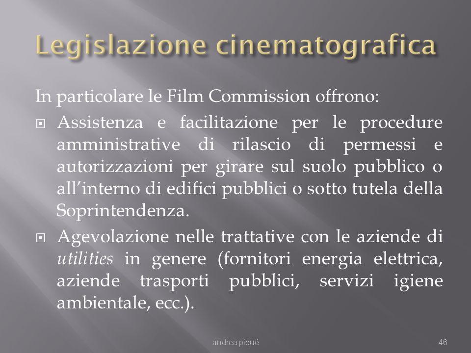 In particolare le Film Commission offrono: Assistenza e facilitazione per le procedure amministrative di rilascio di permessi e autorizzazioni per gir