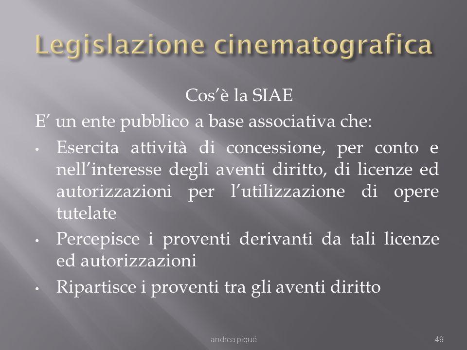 Cosè la SIAE E un ente pubblico a base associativa che: Esercita attività di concessione, per conto e nellinteresse degli aventi diritto, di licenze e