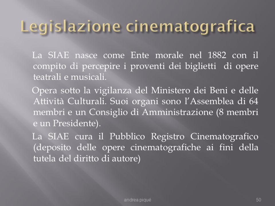La SIAE nasce come Ente morale nel 1882 con il compito di percepire i proventi dei biglietti di opere teatrali e musicali. Opera sotto la vigilanza de