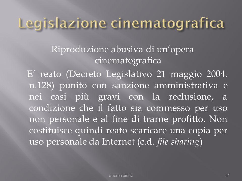 Riproduzione abusiva di unopera cinematografica E reato (Decreto Legislativo 21 maggio 2004, n.128) punito con sanzione amministrativa e nei casi più