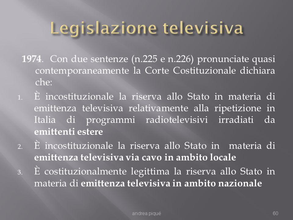 1974. Con due sentenze (n.225 e n.226) pronunciate quasi contemporaneamente la Corte Costituzionale dichiara che: 1. È incostituzionale la riserva all