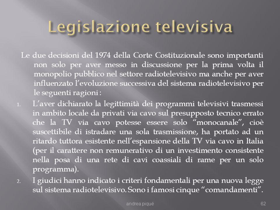 Le due decisioni del 1974 della Corte Costituzionale sono importanti non solo per aver messo in discussione per la prima volta il monopolio pubblico n