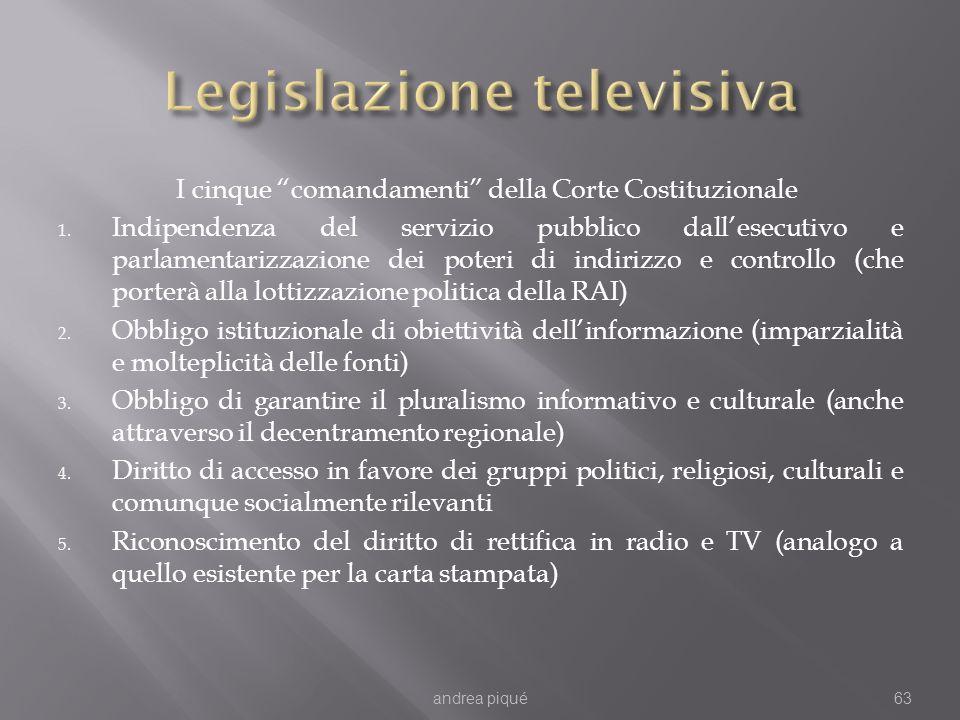 I cinque comandamenti della Corte Costituzionale 1. Indipendenza del servizio pubblico dallesecutivo e parlamentarizzazione dei poteri di indirizzo e
