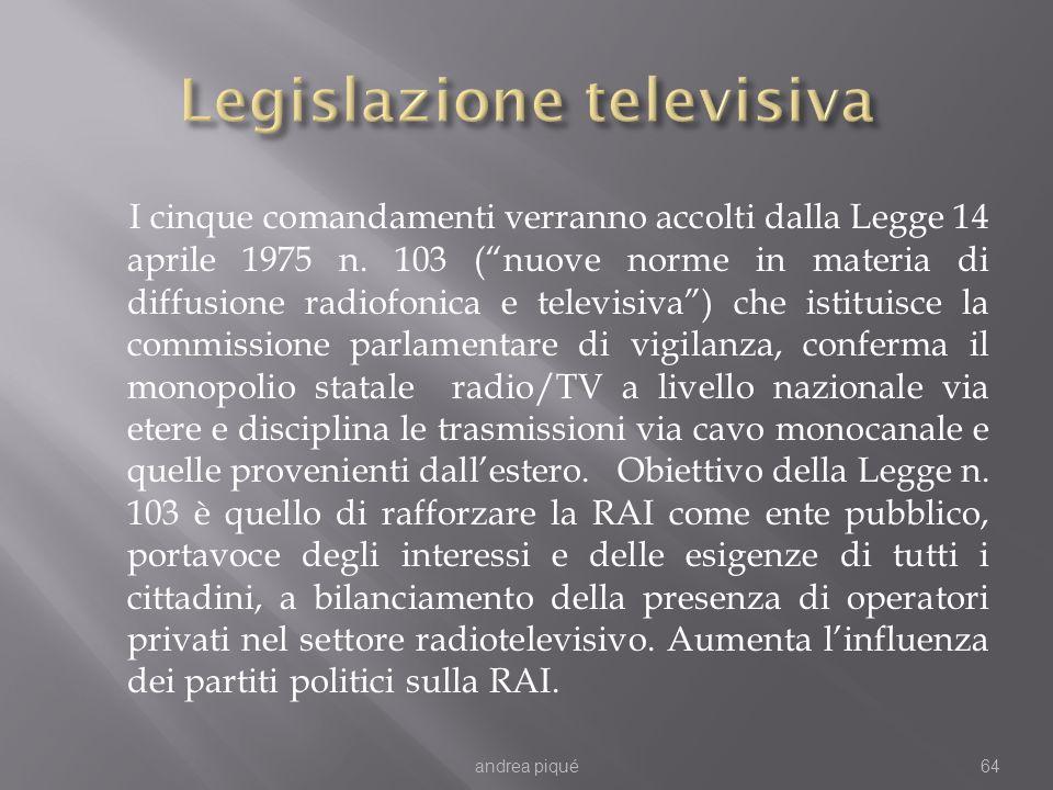 I cinque comandamenti verranno accolti dalla Legge 14 aprile 1975 n. 103 (nuove norme in materia di diffusione radiofonica e televisiva) che istituisc