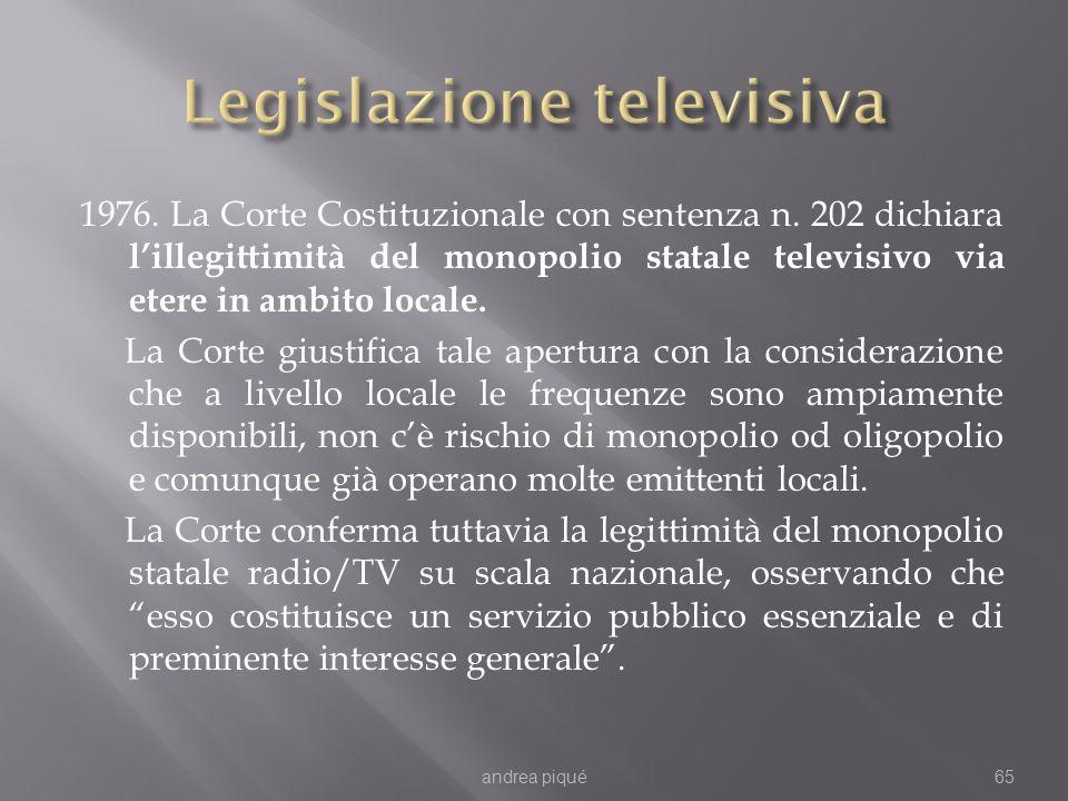 1976. La Corte Costituzionale con sentenza n. 202 dichiara lillegittimità del monopolio statale televisivo via etere in ambito locale. La Corte giusti