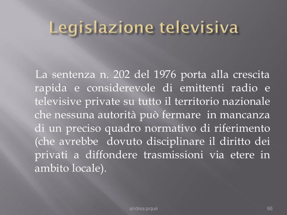 La sentenza n. 202 del 1976 porta alla crescita rapida e considerevole di emittenti radio e televisive private su tutto il territorio nazionale che ne