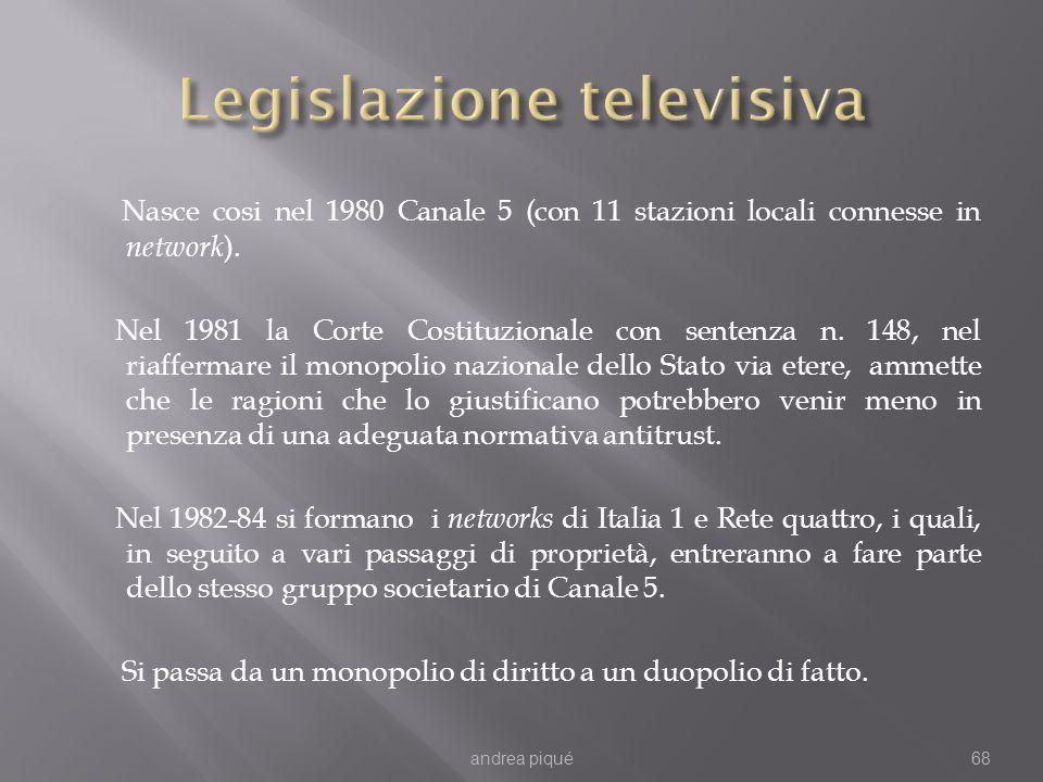 Nasce cosi nel 1980 Canale 5 (con 11 stazioni locali connesse in network ). Nel 1981 la Corte Costituzionale con sentenza n. 148, nel riaffermare il m