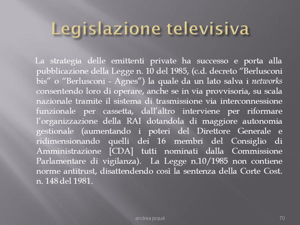La strategia delle emittenti private ha successo e porta alla pubblicazione della Legge n. 10 del 1985, (c.d. decreto Berlusconi bis o Berlusconi - Ag
