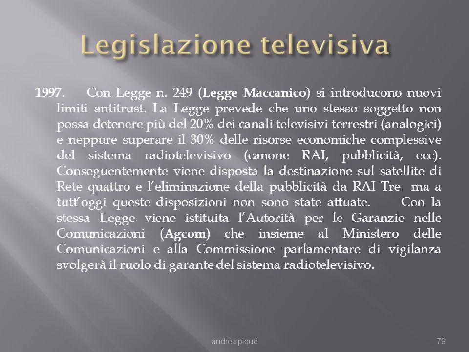 1997. Con Legge n. 249 ( Legge Maccanico ) si introducono nuovi limiti antitrust. La Legge prevede che uno stesso soggetto non possa detenere più del