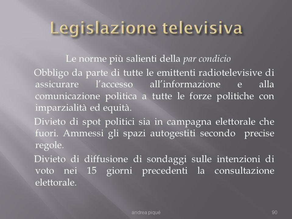 Le norme più salienti della par condicio Obbligo da parte di tutte le emittenti radiotelevisive di assicurare laccesso allinformazione e alla comunica