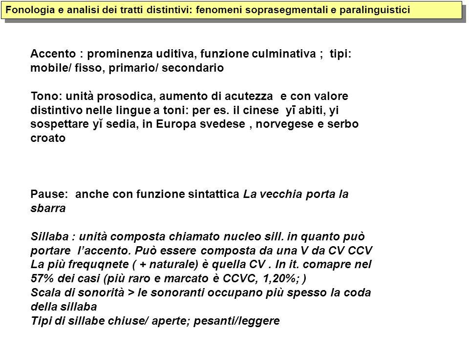 Fonologia e analisi dei tratti distintivi: fenomeni soprasegmentali e paralinguistici Accento : prominenza uditiva, funzione culminativa ; tipi: mobil