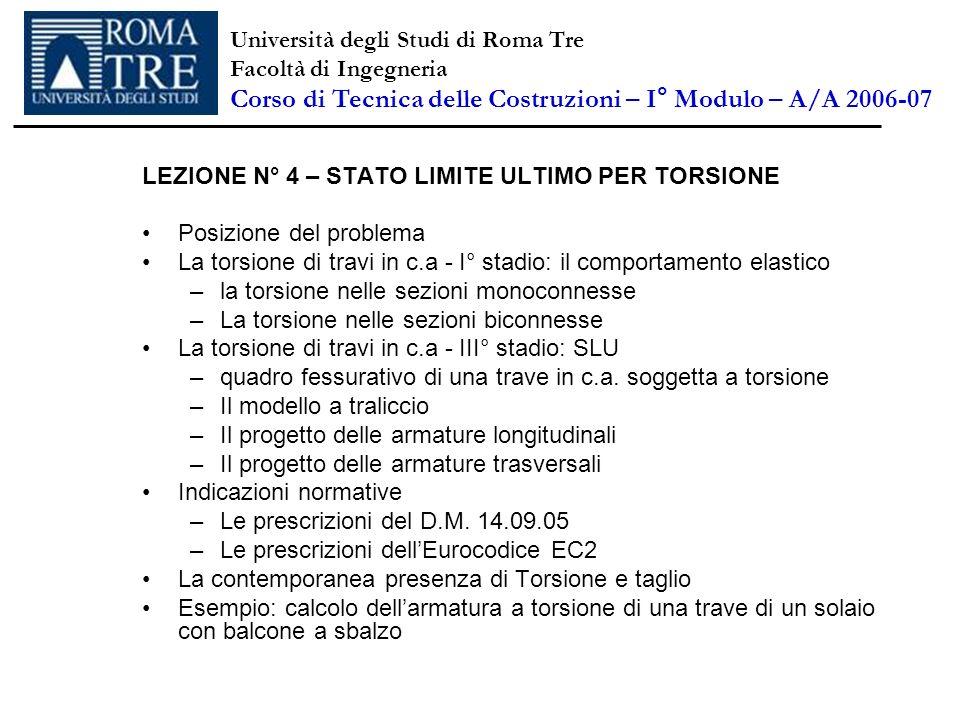 LEZIONE N° 4 – STATO LIMITE ULTIMO PER TORSIONE Posizione del problema La torsione di travi in c.a - I° stadio: il comportamento elastico –la torsione