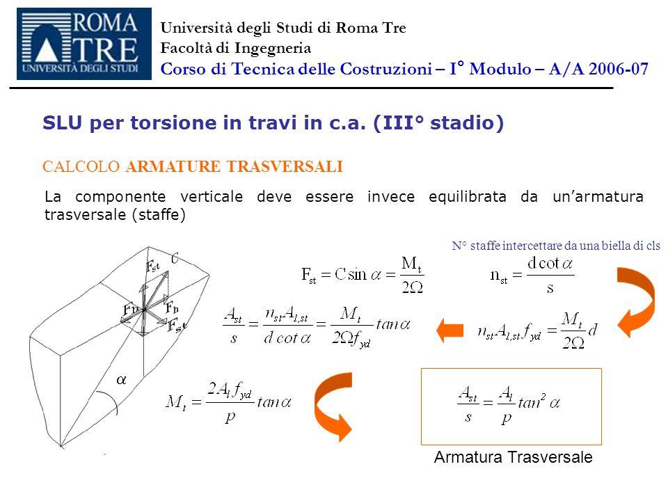 SLU per torsione in travi in c.a. (III° stadio) CALCOLO ARMATURE TRASVERSALI La componente verticale deve essere invece equilibrata da unarmatura tras