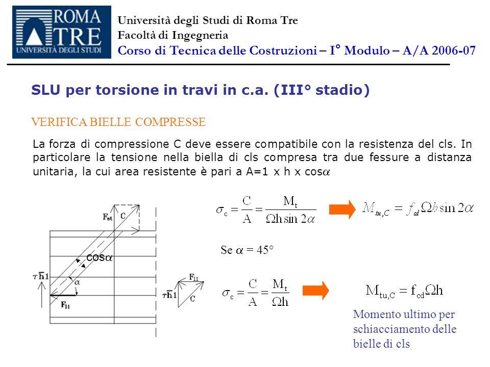 SLU per torsione in travi in c.a. (III° stadio) VERIFICA BIELLE COMPRESSE La forza di compressione C deve essere compatibile con la resistenza del cls