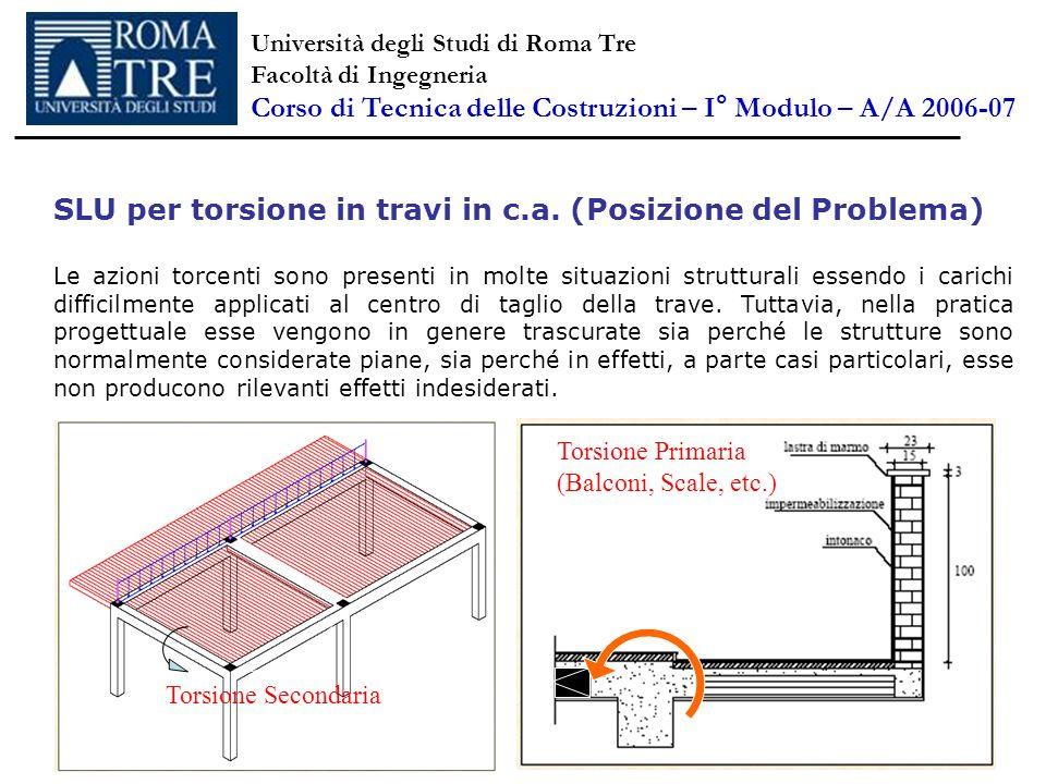 SLU per torsione in travi in c.a. (Posizione del Problema) Le azioni torcenti sono presenti in molte situazioni strutturali essendo i carichi difficil