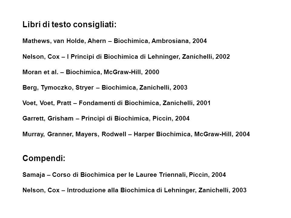Libri di testo consigliati: Mathews, van Holde, Ahern – Biochimica, Ambrosiana, 2004 Nelson, Cox – I Principi di Biochimica di Lehninger, Zanichelli, 2002 Moran et al.