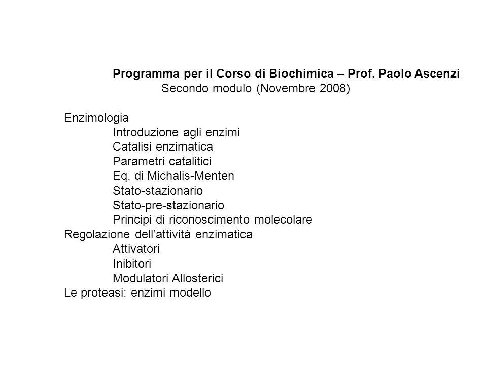 Programma per il Corso di Biochimica – Prof. Paolo Ascenzi Secondo modulo (Novembre 2008) Enzimologia Introduzione agli enzimi Catalisi enzimatica Par