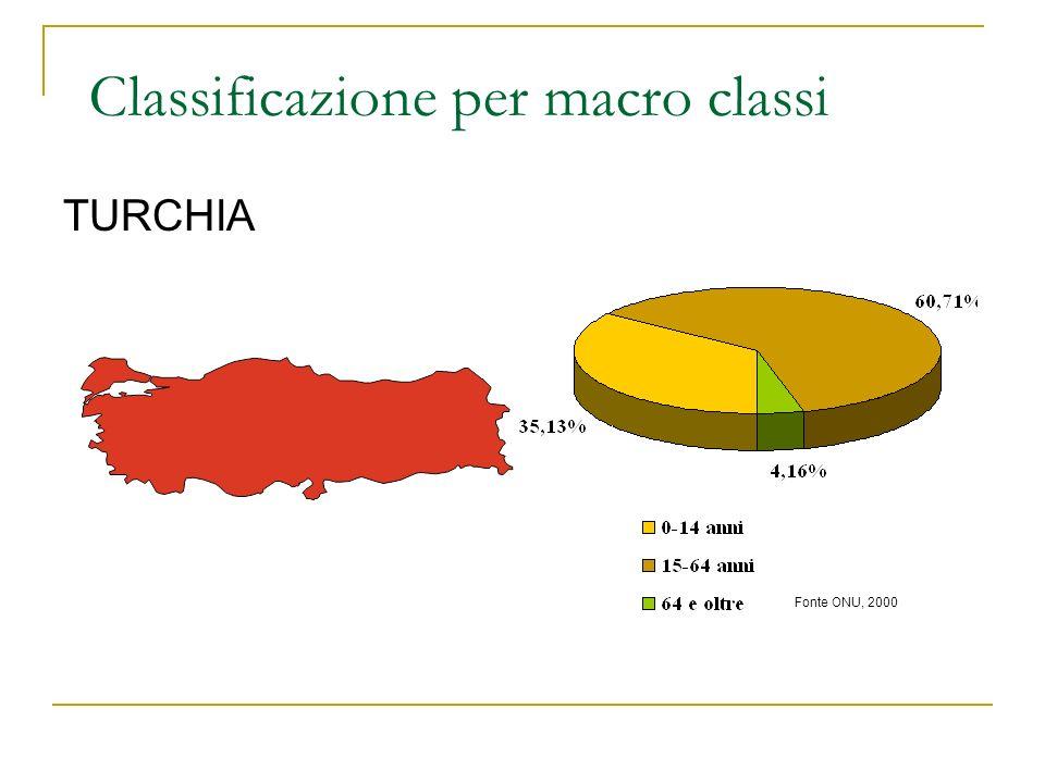 TURCHIA Fonte ONU, 2000 Classificazione per macro classi