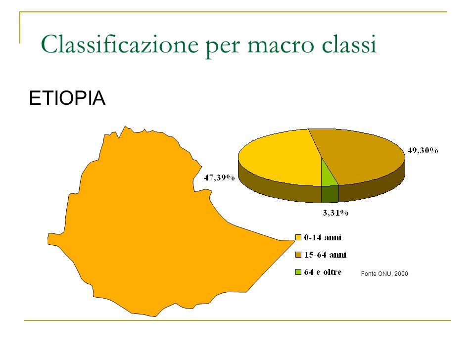 ETIOPIA Fonte ONU, 2000 Classificazione per macro classi