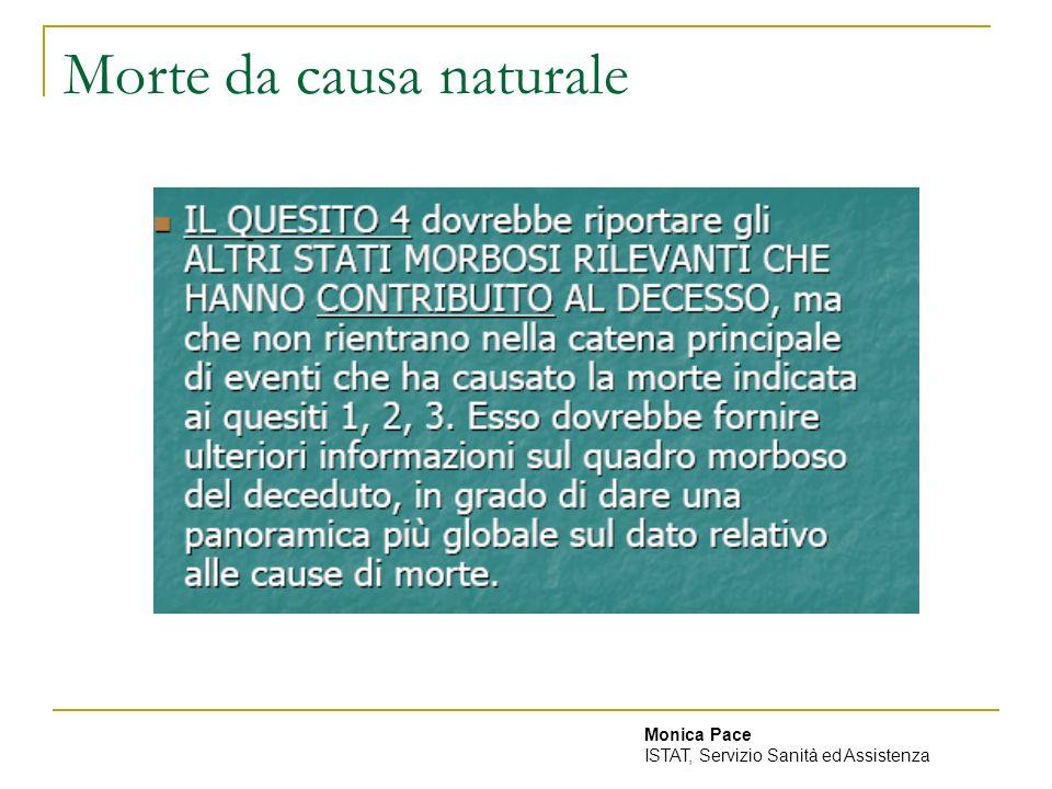 Morte da causa naturale Monica Pace ISTAT, Servizio Sanità ed Assistenza