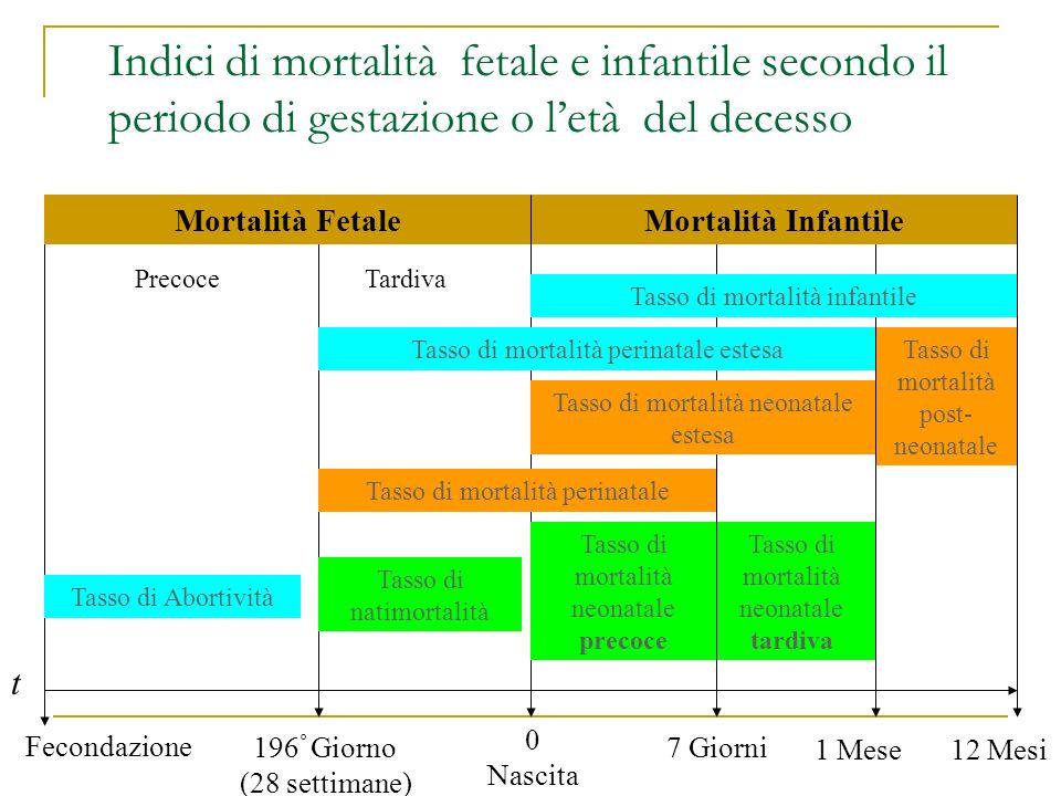 Indici di mortalità fetale e infantile secondo il periodo di gestazione o letà del decesso t Fecondazione 0 Nascita 7 Giorni196 ° Giorno (28 settimane