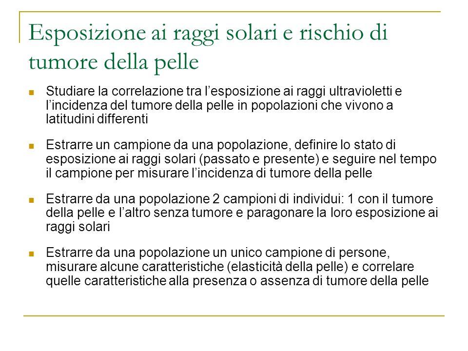 Esposizione ai raggi solari e rischio di tumore della pelle Studiare la correlazione tra lesposizione ai raggi ultravioletti e lincidenza del tumore d