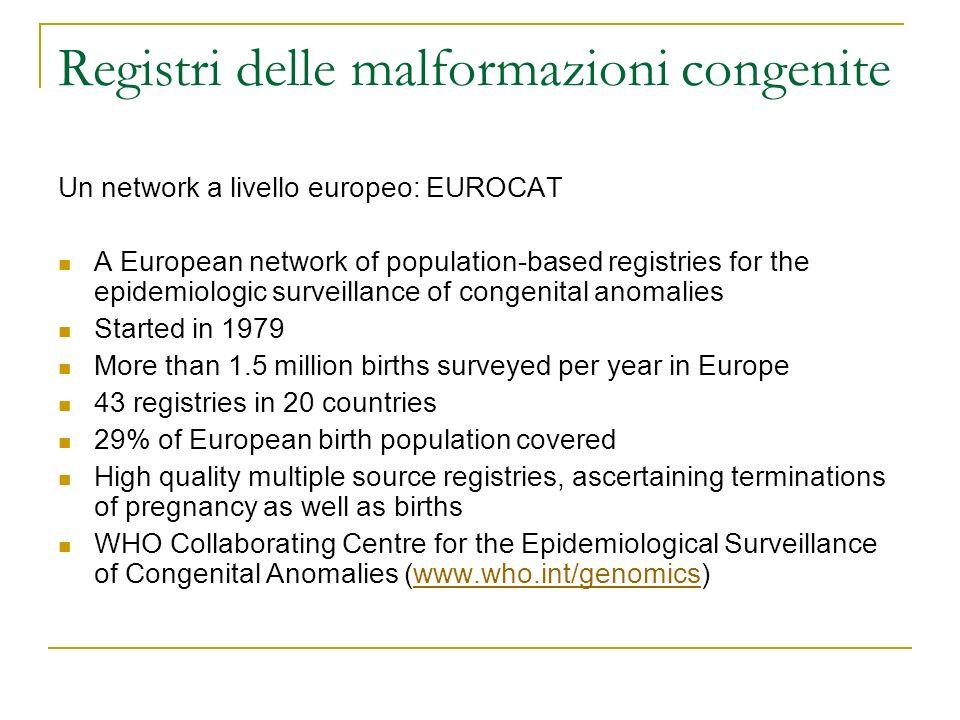 Registri delle malformazioni congenite Un network a livello europeo: EUROCAT A European network of population-based registries for the epidemiologic s
