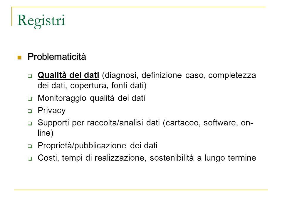 Registri Problematicità Problematicità Qualità dei dati (diagnosi, definizione caso, completezza dei dati, copertura, fonti dati) Monitoraggio qualità