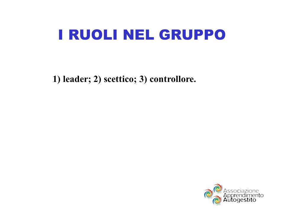 I RUOLI NEL GRUPPO 1) leader; 2) scettico; 3) controllore.