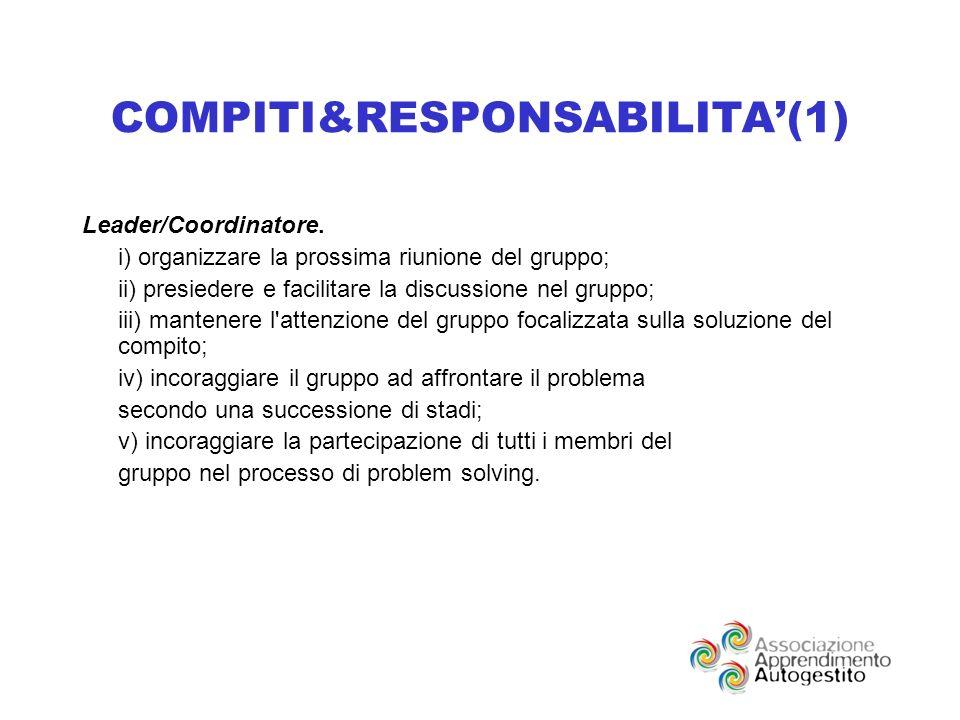 COMPITI&RESPONSABILITA(1) Leader/Coordinatore.