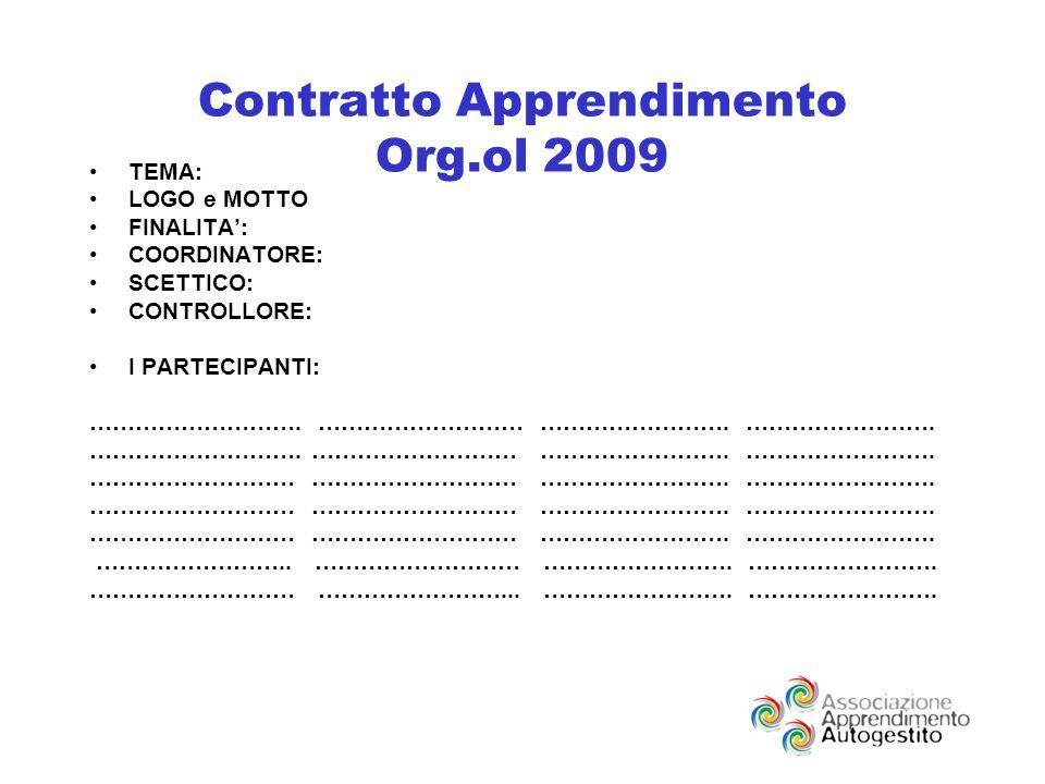 Contratto Apprendimento Org.ol 2009 TEMA: LOGO e MOTTO FINALITA: COORDINATORE: SCETTICO: CONTROLLORE: I PARTECIPANTI: ……………………….
